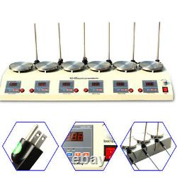 1000ml 6 Heads Magnetic Stirrer Digital Thermostatic Heating Mixer Hot Plate
