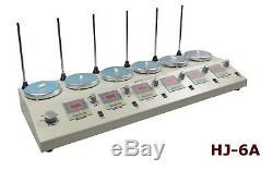 110V 6 Heads Magnetism Stirrer Heating Mixer Hot Plate Magnetic Stirrer Machine