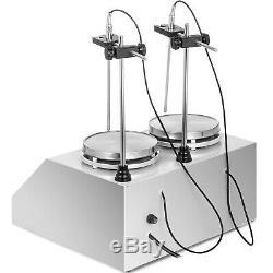2 Heads Magnetic Stirrer Hot Plate Digital Heating Mixer Dual Controls 220w