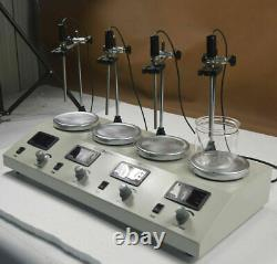 4 Heads Magnetic Stirrer Hot Plate Mixer Heat Plate Digital Thermostatic for Lab