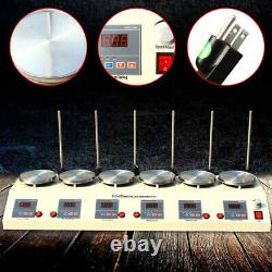 6 Heads Magnetic Stirrer Hot Plate Digital Heating Mixer Dual Controls 625W New