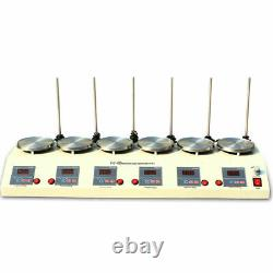 6 Heads Magnetic Stirrer Hot Plate Digital Heating Mixer Dual Controls 625W USA