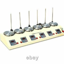 6 Units Head Hot Plate Magnetic Stirrer Lab Heating Mixer No Noise/Vibration USA