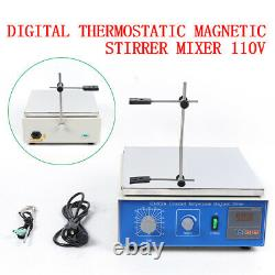 Digital Lab Hot Plate Magnetic Stirrer Mixer Thermostatic Heating 0.3KW New