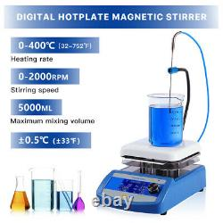 Heating LCD Magnetic Stirrer Hot Plate Chemistry Lab Mixer 2000RPM with Stir Bar