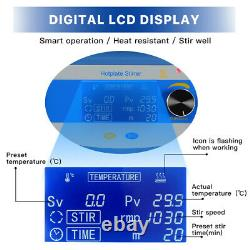 LCD Digital Magnetic Stirrer Hot Plate Lab Equipment 2000RPM 5000ml Temp Probe