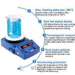 LED Hot Plate Magnetic Stirrer Mixer Stirring 5inch 1500RPM Ceramic Coated Plate