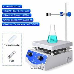 Magnetic Stirrer Hot Plate Mixer 3000ml Stirring Capacity 6.7 x 6.7 inch Max